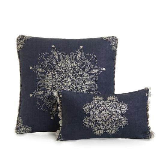 Venezia metallics silver on blue piped cushion  ailanto design by amanda ferragamo treniq 1 1558917666473