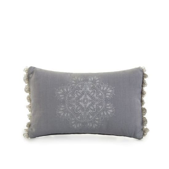 Venezia metallics silver on grey fringed cushion ailanto design by amanda ferragamo treniq 1 1558918952037