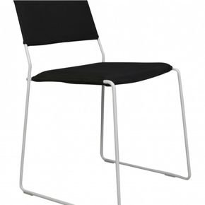One Wire Chair White Frame - Black Cushion