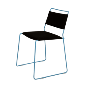 One Wire Chair Blue Frame Black Cushion