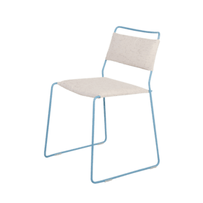 One Wire Chair Blue Frame Melange Cushion