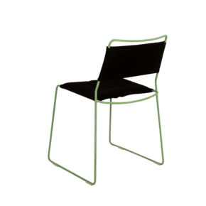 One Wire Chair Green Frame - Black Cushion