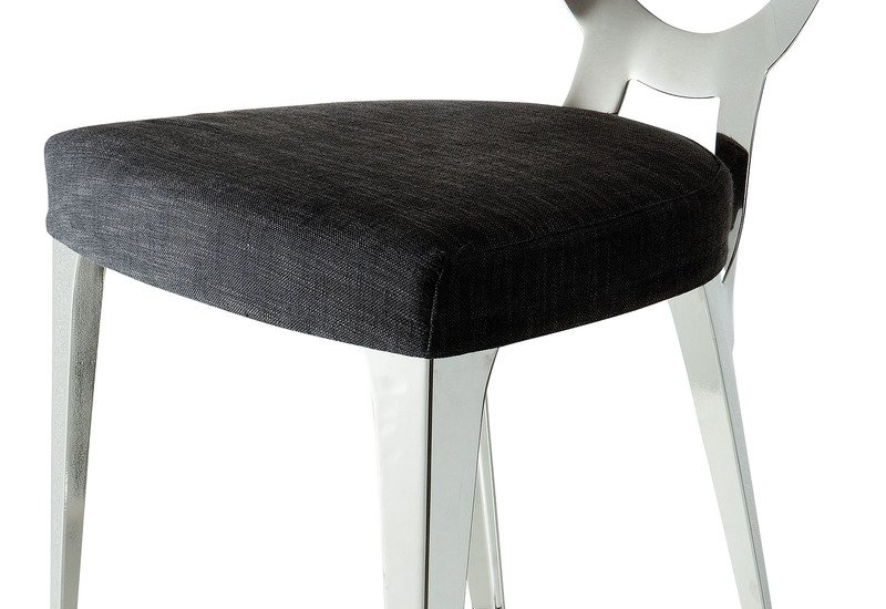 Miss sgabello stool black silver metal wood leather