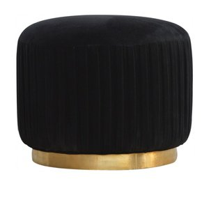 In519-Black-Cotton-Velvet-Pleated-Footstool-With-Gold-Base_Artisan-Furniture_Treniq_0