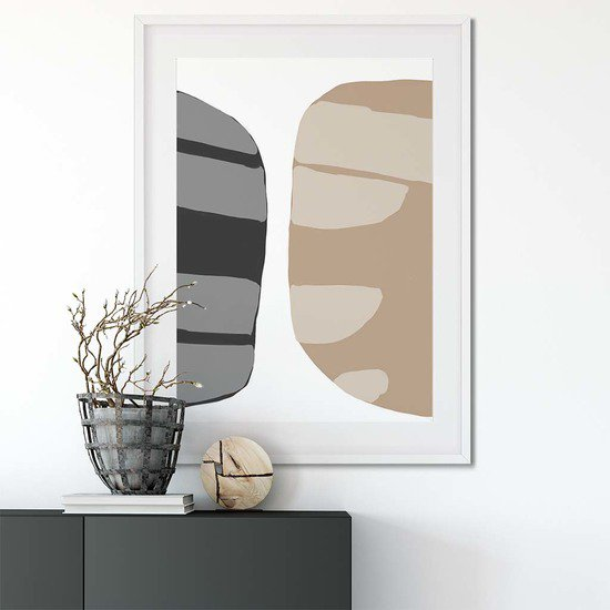 Beige abstract shapes 2   wall art print abstract house treniq 1 1563451208489