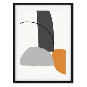 Abstract-Line-Orange-Grey-Wall-Art-Print_Abstract-House_Treniq_0