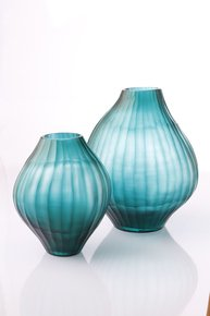 Anasa Blue Glass Aqua shape  vase