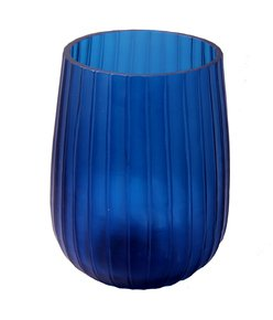 Anasa Blue Glass Hmmered  Vase