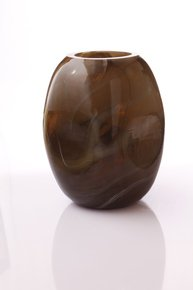 Anasa Brown Glass LMT Jar Dented Vase