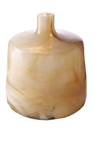 Anasa Cream Glass Hand-Blown  Bottle Vase