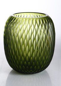 Anasa Green Glass Verde Oliva vase