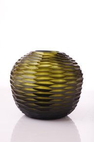 Anasa Green Glass Big Zig zag vase