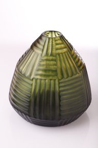 Anasa Green Glass Small Zig zag vase