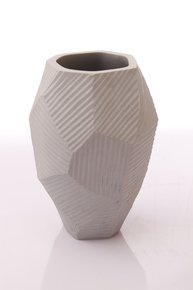 Anasa Grey Glass RIA Med Opaque Grey w/ cutting Vase
