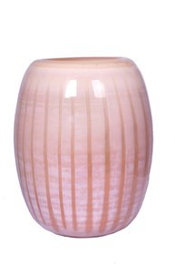 Anasa Pink Glass Modern Striped Glass Vase
