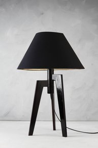 Anasa Black Wood Table Lamp With Shade