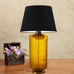 Anasa Blue  Glass Tall Yellow Hand Etched Lamp With Brass Base And Top
