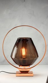 Anasa Brown Glass Holo Ring Table Lamp
