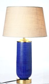 Anasa Blue Glass/Golden Base Table Lamp
