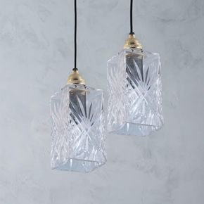 Anasa Transparent Glass Dronuilleog Pendant