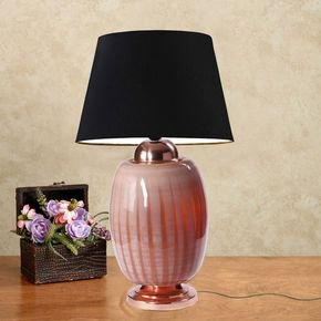 Anasa Light Pink Glass Glass Pumpkin Lamp