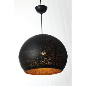 Anasa Black  Metal Floral Dome Shape Pendant
