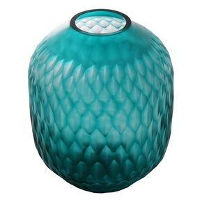 Anasa Sky Blue Glass Zig zag vase-1