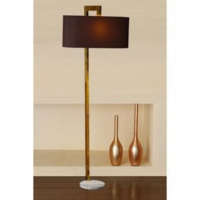 Anasa Golden Metal Floor Lamp (White Marble Base)
