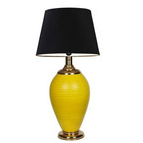 Anasa Yellow Glass Hand Etched Yellow Pot Glass Lamp