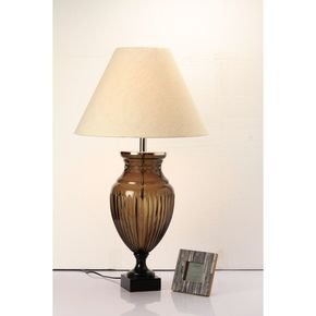 Anasa Teel Green Glass Trophy Lamp With Shade