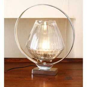 Anasa White Glass Holo Ring Table Lamp