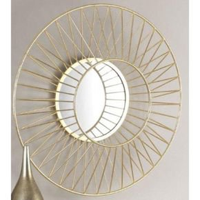 Anasa Golden Metal Decorative Wall Mirror-1