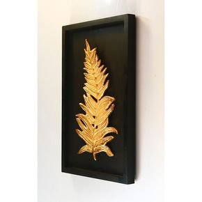 Anasa Black/Golden Metal Wall Décor Leaf
