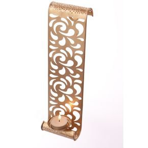 Anasa Golden Metal Wall Candle Holder