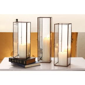 Anasa Transparent Glass Candle Holder Set Of 3