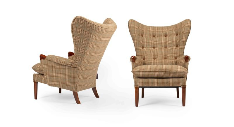 Unique   eclectic pair of iconic mid century 1960's vintage wingchair's rhubarbchairs treniq 1 1568717109992