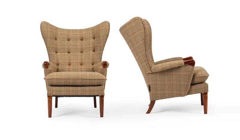 Unique   eclectic pair of iconic mid century 1960's vintage wingchair's rhubarbchairs treniq 1 1568717135993