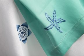 Table Linen Hand Embroidered: Blue Moon