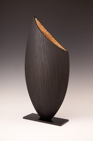 Wood Sculpture: Black & Natural Almond
