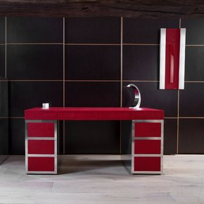 Red Aluminum Handcrafted Desk Set