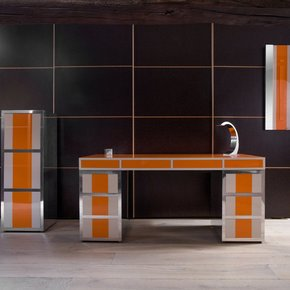Orange Handcrafted Aluminum Desk Set