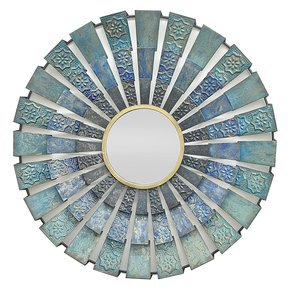 Blue Metal Round Mirror