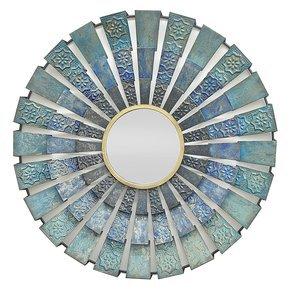 Blue Metal Round Mirror