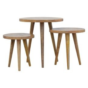 Nordic Style Set Of 3 Nesting Tables With Patchwork Patterned Tops  - IN760