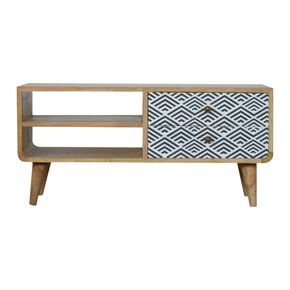 Black And White Diamond Print Media Unit  - IN831