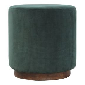 Emerald Green Velvet Footstool With Gold Base  - IN837