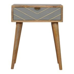 One Drawer Bedside Cement With Brass Inlay - IN852