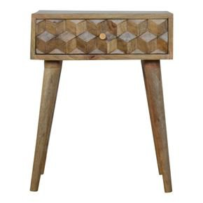 Cube Carved Bedside  - IN844