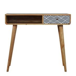 Black And White Diamond Print Writing Desk With Open Slot - IN829