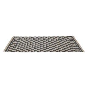 Black & White Diamond Pattern Rug With Tassels  - IN408